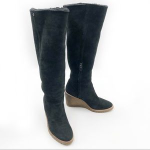 Coach Keely Knee Boots Suede Shearling Lined Wedge